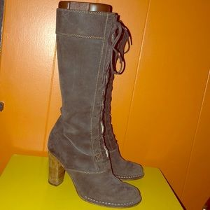 Frye Villager Lace Tall Brown Suede Leather Boots